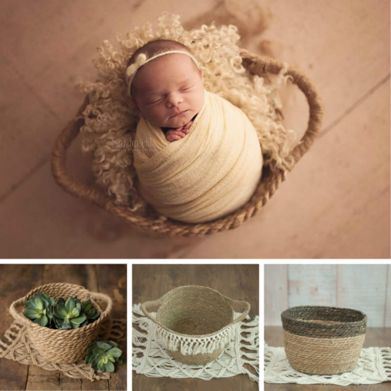 Newborn Photography Props Weaving Baskets Baby Posing Props Creative Basket Natuaral Props Photo Studio Infant Shoot Accessories