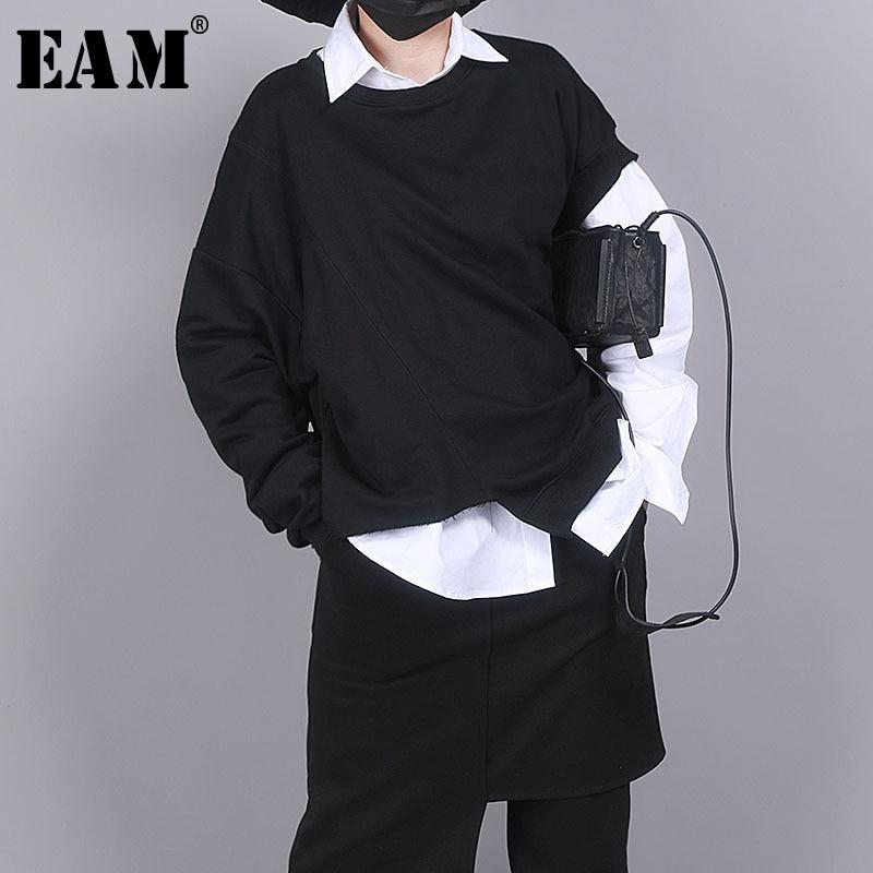 [EAM] Women Black Asymmetrical Split Big Size T-shirt New Round Neck Long Sleeve  Fashion Tide  Spring Autumn 2020 1R852