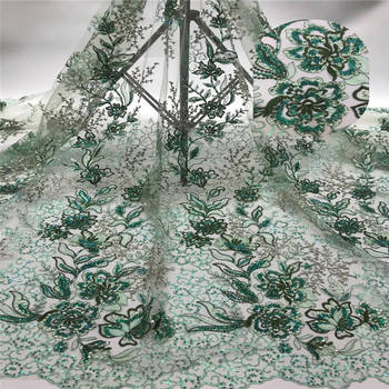 Light green african lace fabric 2020 high quality lace french mesh fabric with sequins nigerian swiss lace fabrics for dress KW0