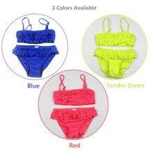 Baby Girls Swimwear 2 Pieces Bikini 8-16Y Kids Tankini Children Swimming Wear Bathing Suit with Lace Girl  Two Pieces Swimsuit цена