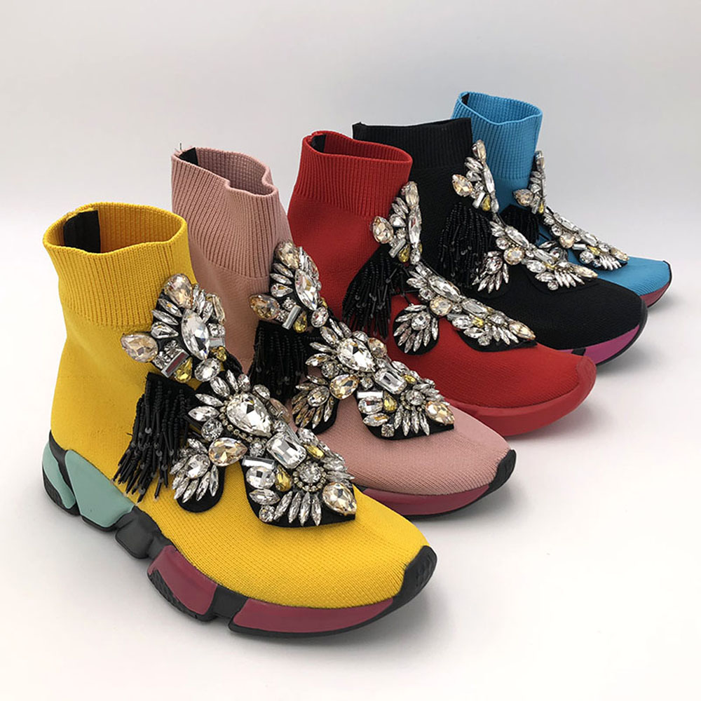 Crystal Sock Sneaker Shoes Women Shoes With Crystals Rhinestone Sock Shoes Fashion Sneakers Women Short Boot Shoes WK85