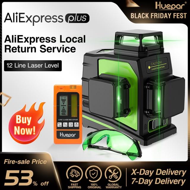 Huepar 12 קווים 3D ירוק צלב קו לייזר רמה עצמי פילוס 360 תואר אנכי ואופקי משקפיים מקלט USB טעינה