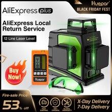 Huepar 12 linhas 3d verde cruz linha laser nível auto nivelamento 360 graus vertical & horizontal óculos receptor de carregamento usb