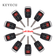 Keyecu 10 Pieces Key Shell for Proton Keyless Entry Transponder 3 Buttons Remote Car Key Cover Case With Left Blade