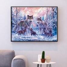 Huacan Kruissteek Borduren Wolf Dier Katoenen Draad Schilderen Diy Handwerkpakketten 14CT Winter Home Decoratie