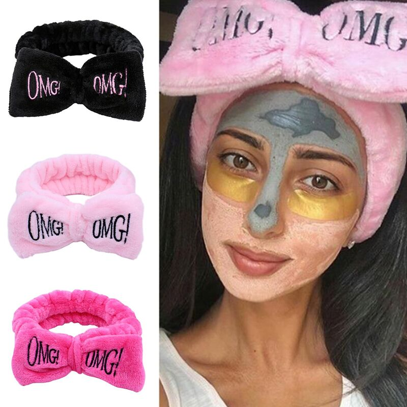 New Colorful OMG Letters Bow Coral Fleece Hairbands For Women Girls Headbands Bandanas Hair Bands Headwear Kids Hair Accessories