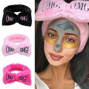 New Colorful OMG Letters Bow Coral Fleece Hairbands For Women Girls Headbands Bandanas Hair Bands Headwear Kids Hair Accessories(China)