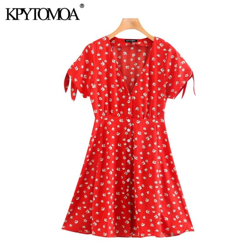 KPYTOMOA Women 2020 Chic Fashion Floral Print Pleated Mini Dress Vintage V Neck Tied Short Sleeve Female Dresses Vestidos Mujer