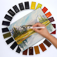 цена на SeamiArt 24Color Semi-Dry Watercolor Paint Set Gifts Box Water Color Pigment for Artist Painting Watercolor Paper Supplies