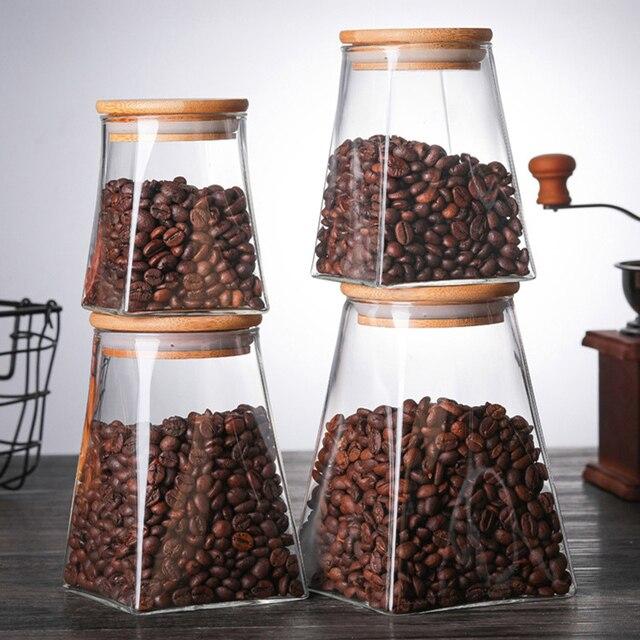 350ml/500ml/750ml/950ml Coffee Jar Tea Jar  sugar jar  glass container  candy jar Storage Container Kitchen Container Cover 2