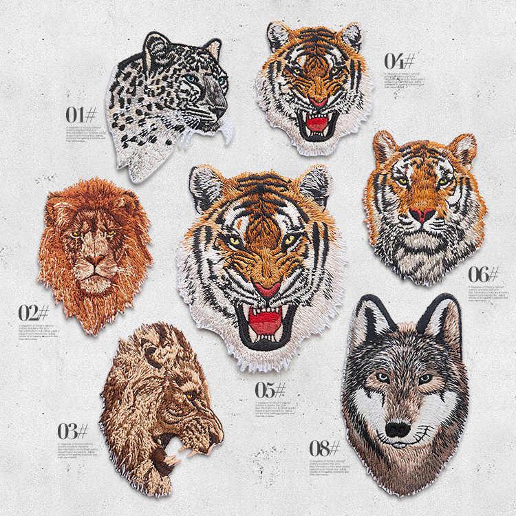 Luipaard Tijger Leeuw Wolf Borduurwerk Ijzer Op Patches Voor Kleding Applique Diy Hoed Jas Jurk Accessoires Doek Sticker Dier