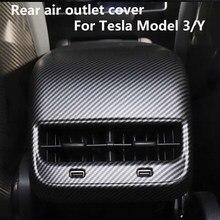 Acabado mate de fibra de carbono para Tesla modelo 3 coche Interior trasero aire tapa de salida a ventilación accesorios de la cubierta