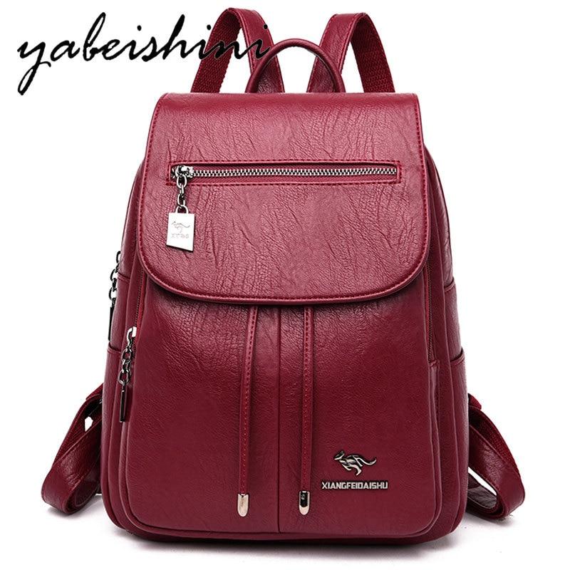 Women's Backpack Sac A Dos Women Leather Backpack Preppy School Bag Mochila Feminina Lady Travel Backpack Women's Shoulder Bag
