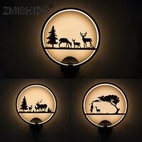 ZMISHIBO 12W 90V 260V Iron Animal LED Wall Lamp Warm White Black White Deer Sconce Wall Mounted Living Room Decoration Lighting