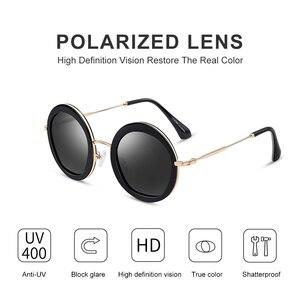 Image 4 - PARZIN 여성 빈티지 편광 선글라스 UV400 럭셔리 브랜드 라운드 태양 안경 여성 유행 안경 운전에 대 한