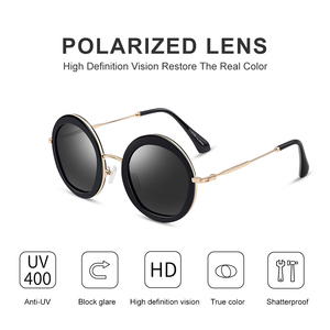Image 4 - Parzin女性ヴィンテージ偏光サングラスUV400高級ブランドラウンドサングラス女性のための流行のメガネを駆動するための