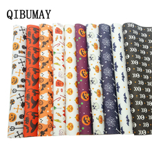 QIBUMAY Halloween Vinyl Fabric PU Leather Bow Sheets Skull Printed Faux for Bows 22*30cm Synthetic