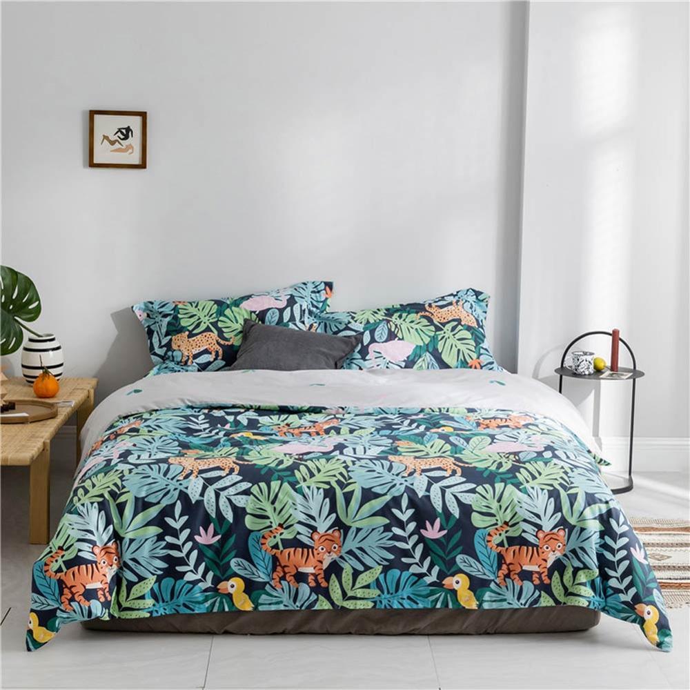 2019 tigre oiseaux pastorale feuilles housse de couette ensemble haut compte coton literie Twin Queen King drap plat drap housse literie