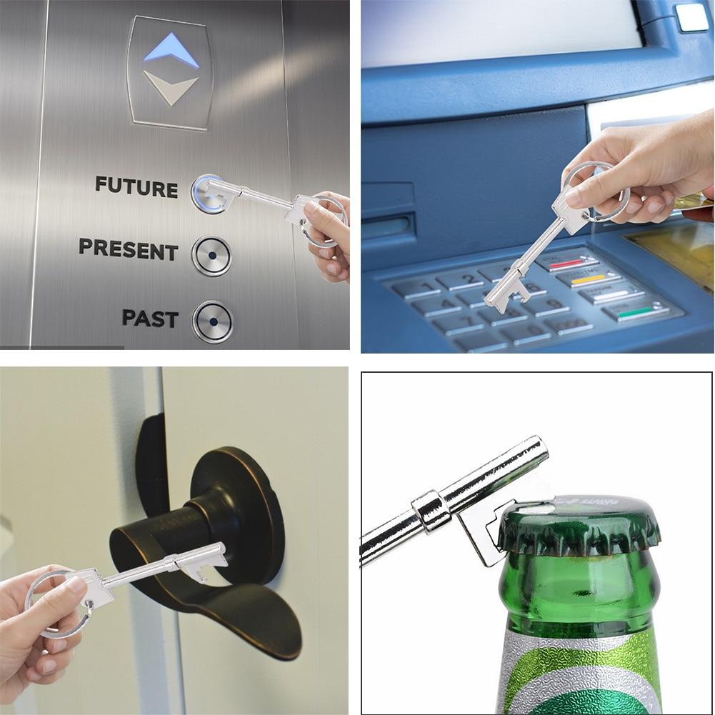 Handmade Door Opener Key Chain NO TOUCH Door Handle Artifact Keychain Avoid Touching Key Buckle Clean Key Dropshipping