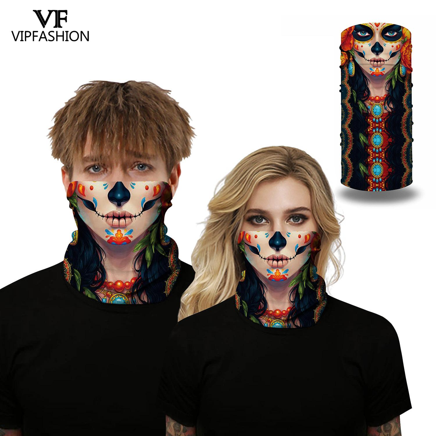 VIP FASHION Halloween Skull Printed Face Masks Scarf Outdoor Sporting Headwear Riding Scarf Cycling Neck Headband Bandana