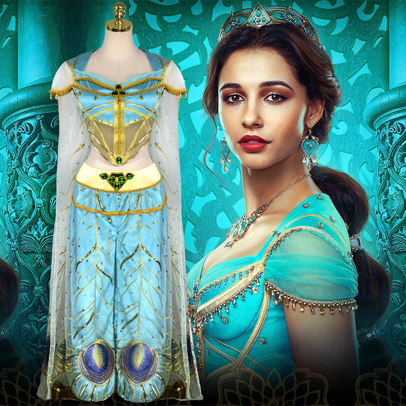 Movie Aladdin Princess Jasmine Cosplay Costume Dress Peacock Jacket Trousers Veil Cloak Adult Woman Removable Clothing