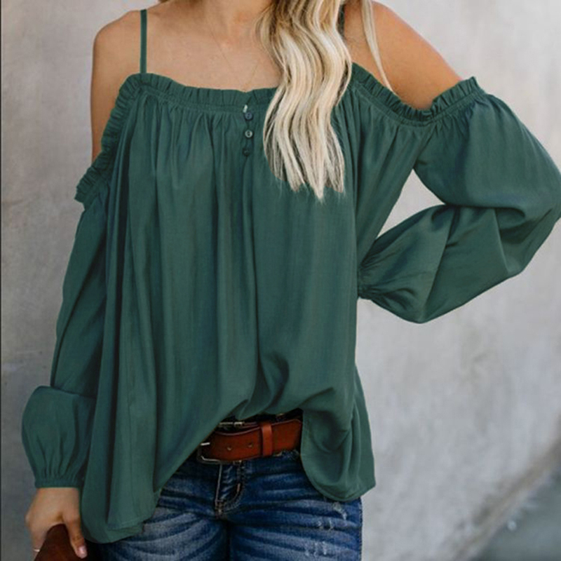 Woman Slash Neck Shirts Lady Sexy Loose Long Sleeve And Sling Off Shoulder Blouse Famale Clothing Blusas Mulher Elegantes