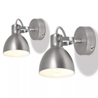 VidaXL Wall Lamps 2 Pcs For 2 Bulbs E14 Grey 244398 High Quality Metal Bases A Pleasant Light Great Addition To Home Decor