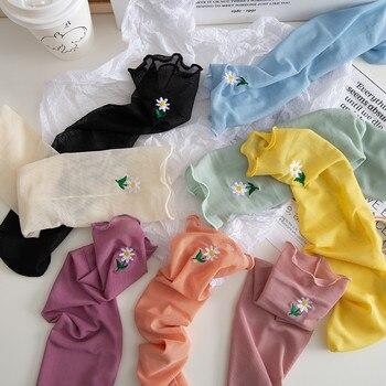 SP&CITY Summer Colored Flower Socks Women Transparent Hollow Out Fishnet Socks For Female Delicate Thin Fairy Short Art Socks