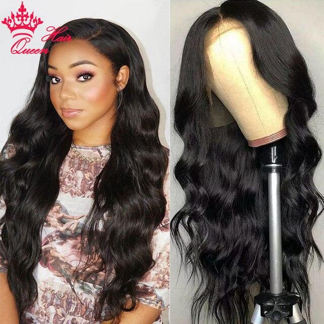 Królowa włosów oficjalny sklep 13x6 HD przejrzyste koronki przodu włosów ludzkich peruk BlackHair ciało fala Glueless Frontal peruka dla kobiet