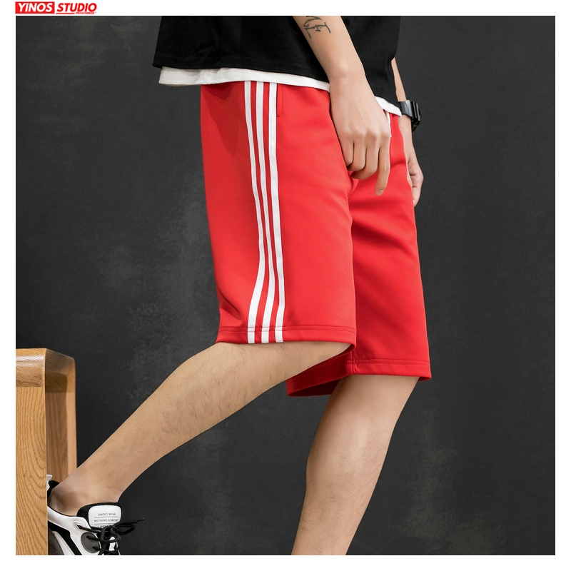 Dropshipping Men Summer Side Striped Shorts Mens 2020 Knee Length Korean Loose Hip Hop Sweatpants Male Fashion Clothes Shorts