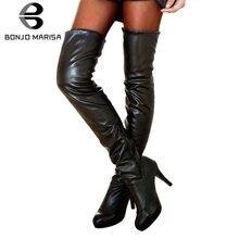 купить BONJOMARISA 2019 New Winter 31-46 Over The Knee Boots Women 2019 Sexy Thigh High Boots Lady High Heels Add Fur Shoes Woman дешево