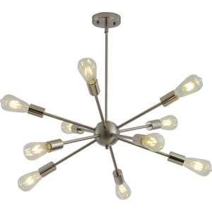 Image 3 - スプートニクシャンデリア真鍮現代ペンダントランプアンティークゴールド産業階段照明器具10腕起毛ニッケル黒チューブ