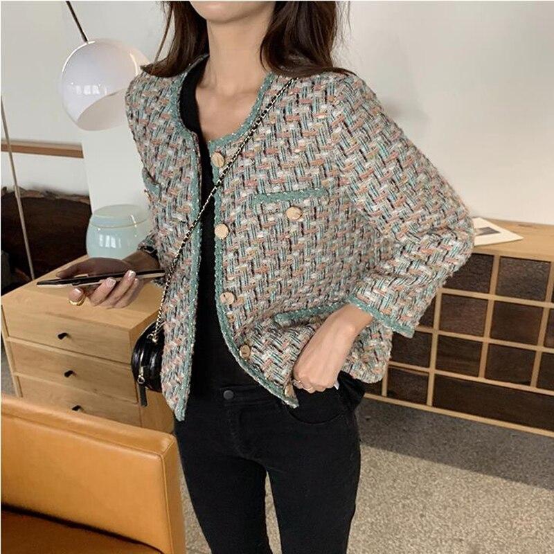 European Style Autumn Winter short Tweed  Jacket Coat Women 2019 Elegant Slim Long Sleeve Female Runway Woolen Jacket