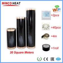 20m2 di Carbonio Caldo Pavimento di Linoleum Pellicola a Raggi Infrarossi con Accessori con Wifi Intelligente Termostato Morsetti