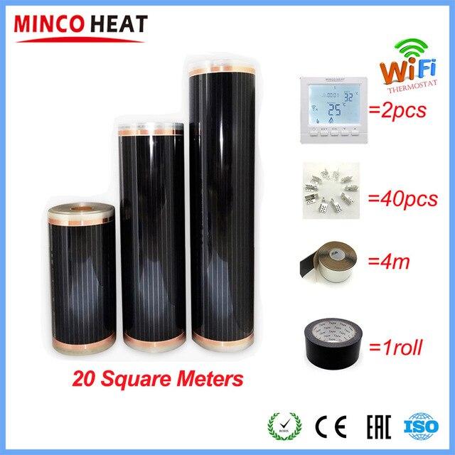 20m2 פחמן חם רצפת לינוליאום אינפרא אדום סרט עם אביזרי עם אינטליגנטי Wifi תרמוסטט מלחציים
