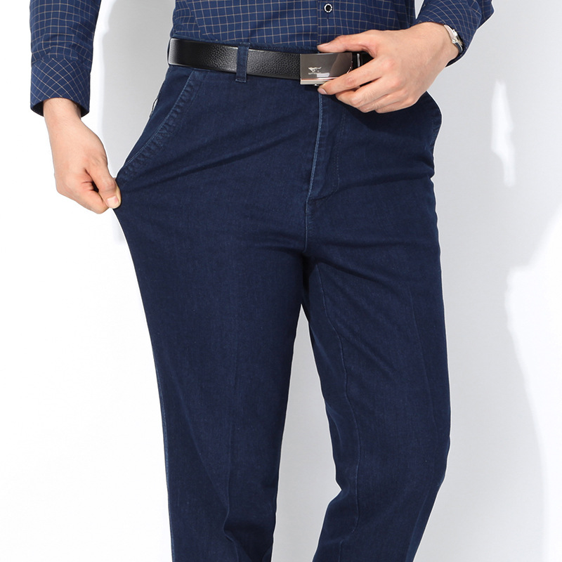 Middle-aged Jeans Men's Loose Straight Stretch Cotton Casual Trousers Autumn Thick-Dad High-waisted Large Size Pants