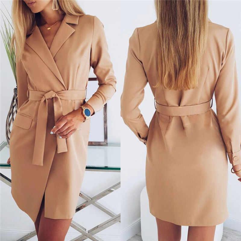 Élégant automne femmes OL costume veste à lacets longue bureau Blazer robe profonde Col rabattu robe manches longues a-ligne femme costume N26