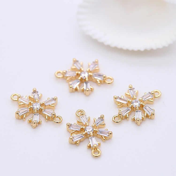 Elegancja wisiorek śnieżynka wyczyść Cz cyrkon Charms złącze do tworzenia biżuterii kobiety dziewczęta ręcznie robiona bransoletka kolczyki akcesoria