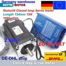 цена на DE free VAT 2 sets Nema34 L-154mm Closed Loop Servo Motor 12N.m 6A & HSS86 Hybrid 8A Step-servo Driver CNC Controller Kit