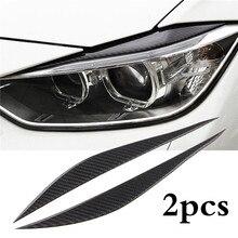 1 Pair Carbon Fiber Car Front Headlight Eyebrows Sticker Trim Auto Decoration Accessories For BMW 3 series F30 320i 325i 316i
