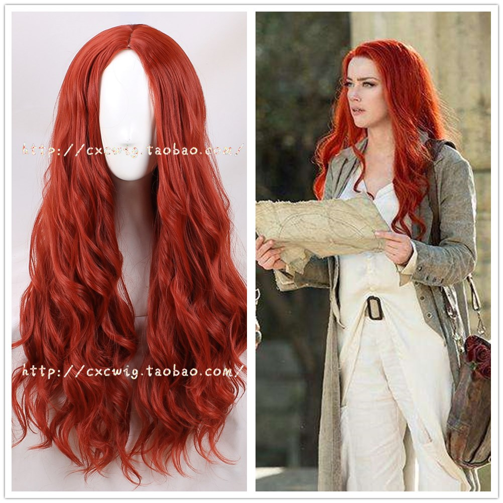 Halloween Women Aquaman Mera Cosplay Wig Mera Red Wavy Long Hair Wig Costumes With Free Hair Cap