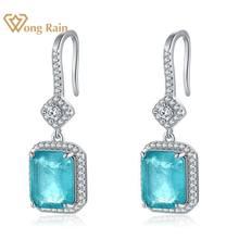 · ウォン雨 100% ヴィンテージ 925 スターリングシルバーparaibaトルマリン宝石のドロップブラブラダイヤモンドイヤリングファインジュエリーギフト卸売