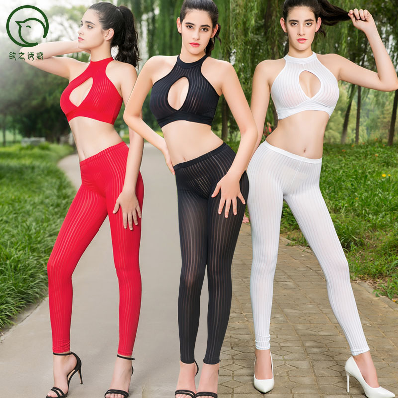 Sexy Vertical Stripe Transparent Open Crotch Hot Pants Crotchless Leggings Fitness Legging Trousers Women Pencil Pant Spodnie