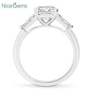 Image 2 - NiceGems 14K białe złoto Asscher cut Moissanite trylogii pierścionek zaręczynowy centrum 7x7mm 4 podwójne prong ze zwężającymi się bagietki pierścień