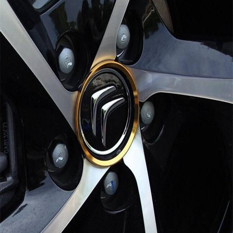 4PCS Car Styling Ring Wheel Hub Decoration Circle For Citroen C-Crosser C3 C4 C5 DS5 e-Mehari C-Elysee C4L C6 DS4 Accessories