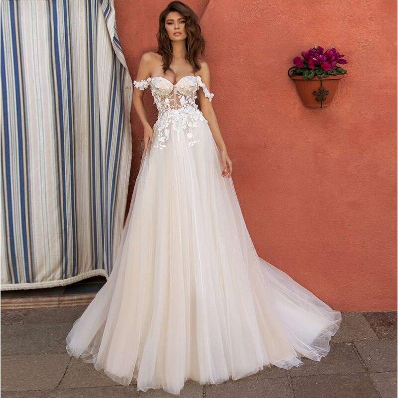 Elegant Off-shoulder Bohemian Wedding Dresses New 3D Floral A-line Lace Bridal Gown Vestidos De Novia 2020
