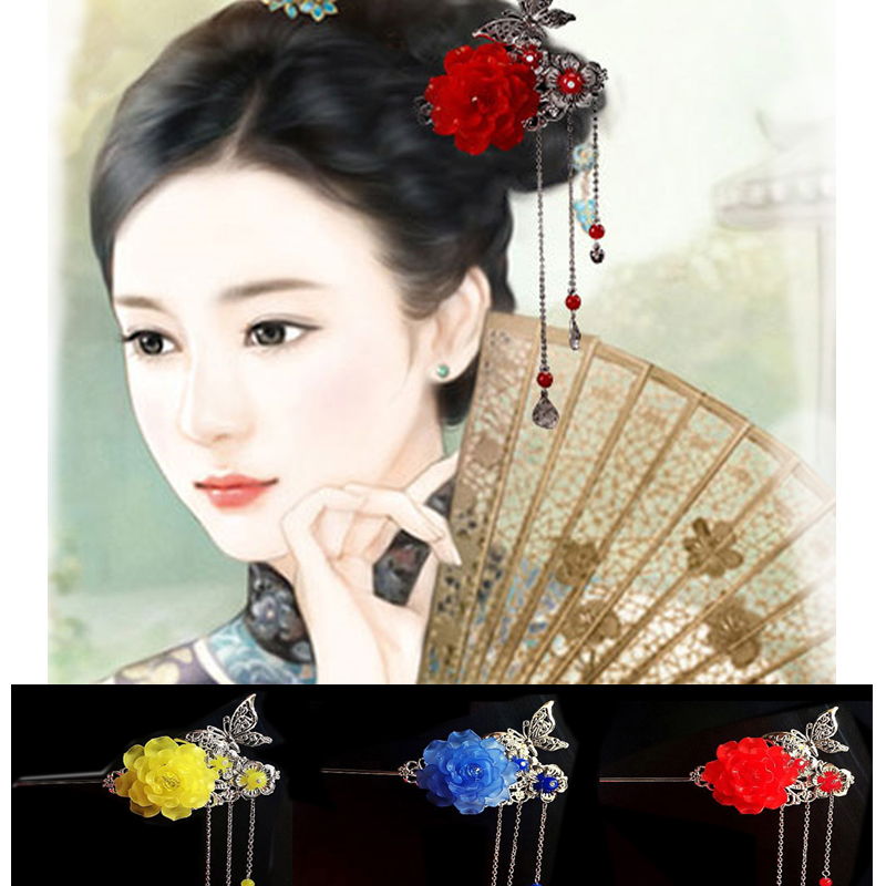 Elegant Women Tassel Flower Bell Handmade Hair Stick Hair Chopsticks Hairpin
