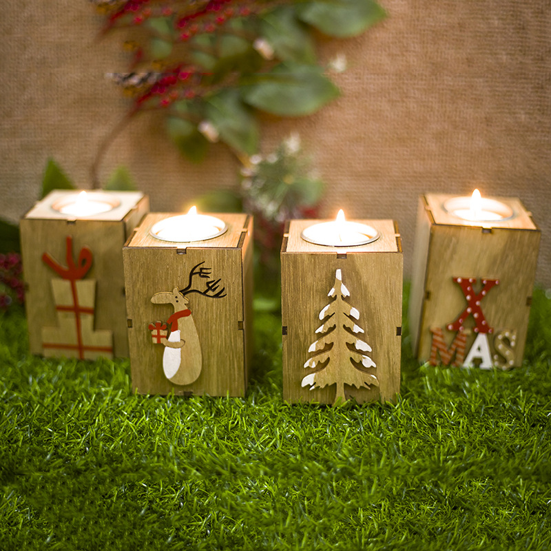 Xmas Christmas items Mini Wooden Candlestick Candle Light Ornament for Home 2019 New Year Christmas Party Decoration Accessories