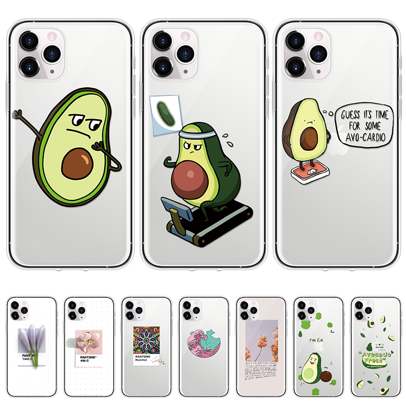 Cartoon Silicone Phone Case for iPhone 11 Pro XS Max XR 6 6S 7 8 Plus 5 4 Soft TPU Funny Avocado Cover For iPhone SE 2020 Fundas