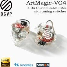 BGVP HIFI ArtMagic VG4 4 armaduras equilibradas personalizables en monitores de oído interfaz MMCX con Cavo HIFI Cuffie